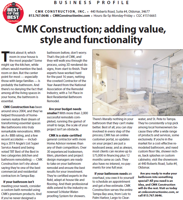 CMK Construction; adding value, style and functionality