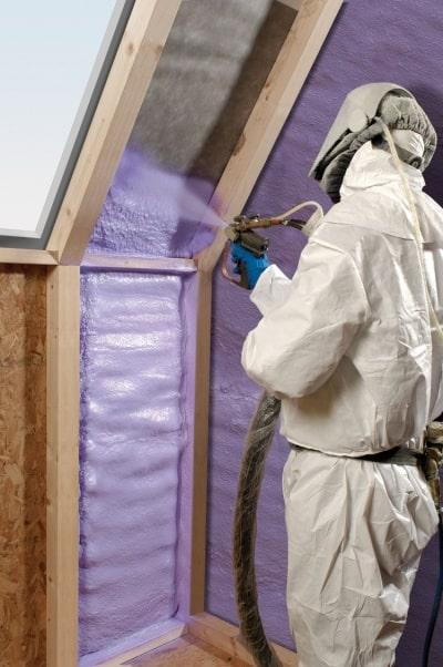 Purple insulation in an attic