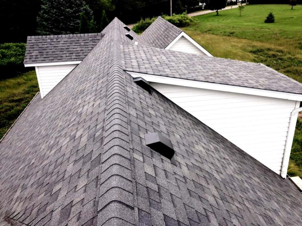 A roof with a low slope.