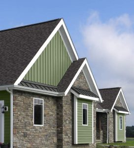 Vertical Vinyl Siding with Stone Veneer
