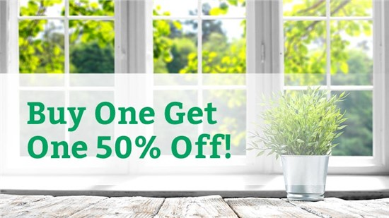 Buy One, Get One Window 50% Off!