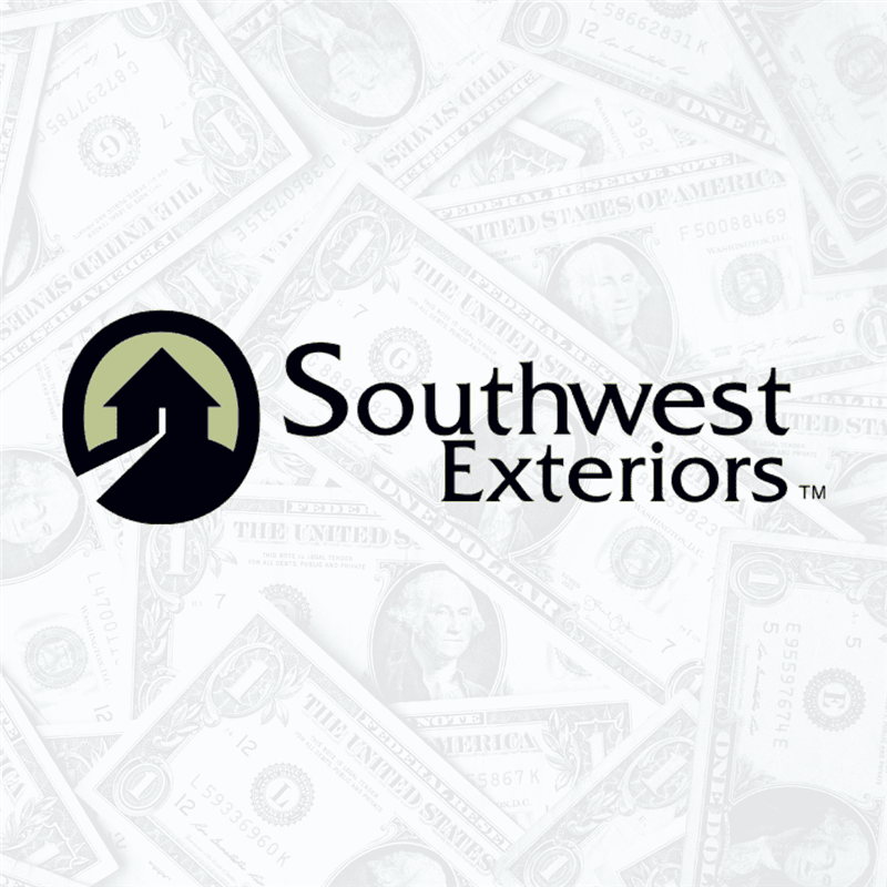 The Southwest Exteriors logo with a small house to the left and a transparent background of falling money.