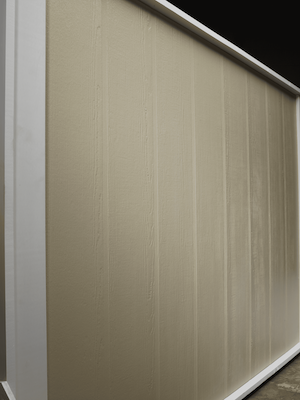 Vertical board and batten siding in a cedar finish in a beige color.