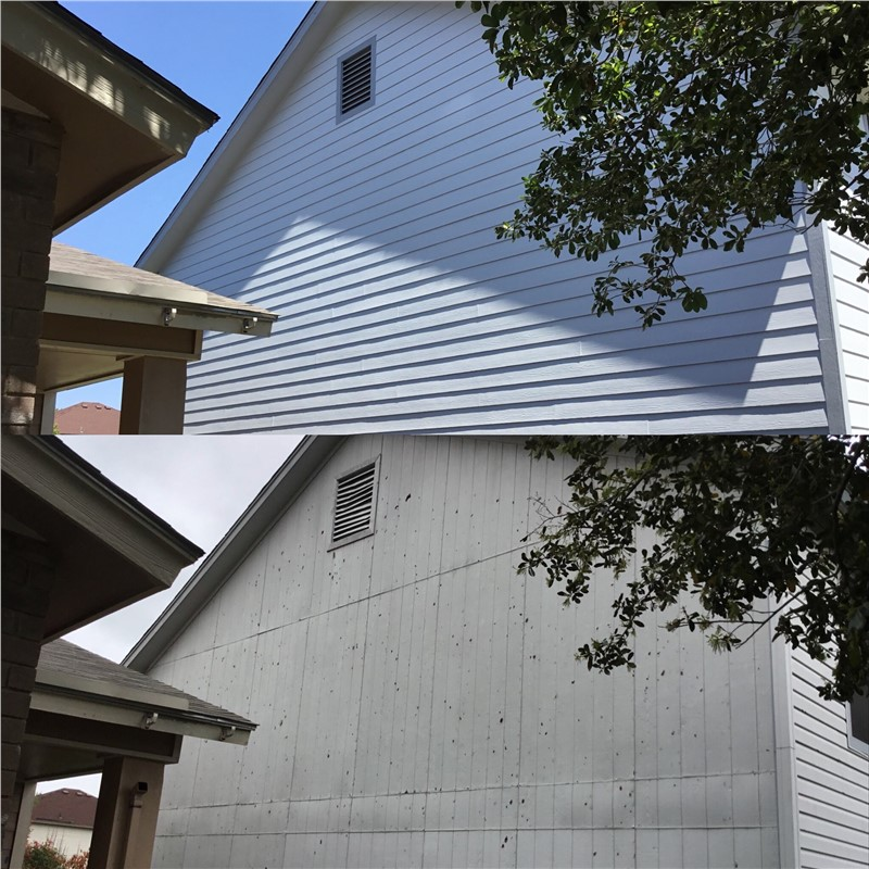 A picture of the side of a house where the top half is a before picture of damaged siding and the bottom half is the repaired version.
