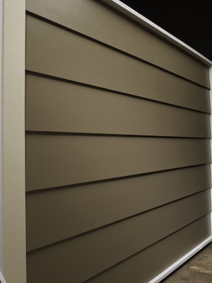 Smooth lap horizontal siding in a brownish green color.