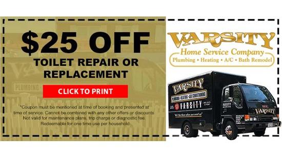 $25 Off Toilet Repair or Replacement